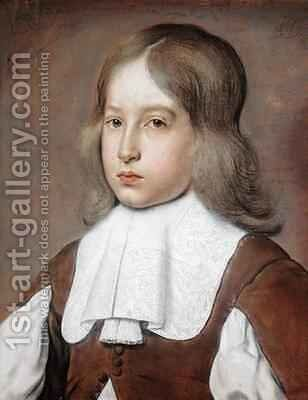 Portrait of a Young Man in a Lace Collar by Christiaen Jansz. Dusart - Reproduction Oil Painting