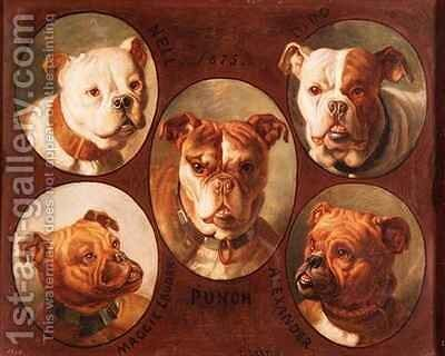 Nell Dido Punch Maggie lauder and Alexander English Bulldogs by Antoine or Tony Dury - Reproduction Oil Painting