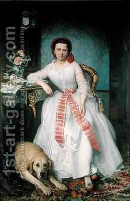 Josephine Bowes 1825-74 by Antoine or Tony Dury - Reproduction Oil Painting