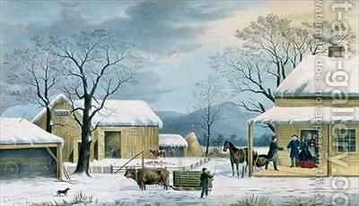 Home to Thanksgiving by (after) Durrie, George - Reproduction Oil Painting