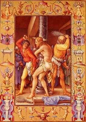 Ms 39 1601 The Flagellation of Christ from Passio Domini Nostri Jesu Christi Secundum Joannem by (after) Durer or Duerer, Albrecht - Reproduction Oil Painting