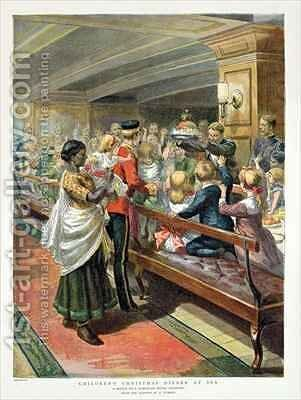 Childrens Christmas Dinner at Sea from the Graphic Christmas Number by Godefroy Durand - Reproduction Oil Painting