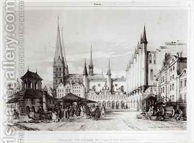 The Senate and Marketplace in Lubeck by Andre Durand - Reproduction Oil Painting