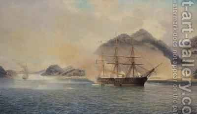 Naval Battle of the Strait of Shimonoseki by Jean Baptiste Henri Durand-Brager - Reproduction Oil Painting