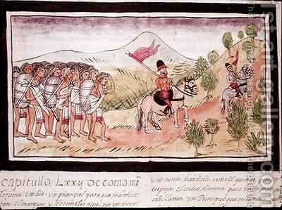 Fol 204v The Totonac Indians Helping the Conquistadors to Transport Materials by Diego Duran - Reproduction Oil Painting