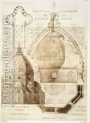 Plan Section and Elevation of Florence Cathedral from Fragments dArchitecture du Moyen Age et de la Renaissance 2 by (after) Duquesne, Eugene - Reproduction Oil Painting