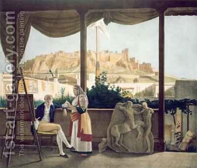The French Consul Monsieur Fauvel on the terrace of his house in Athens by (after) Dupre, Louis - Reproduction Oil Painting