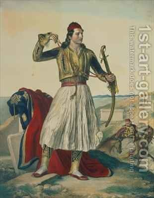 Demetrius Mavromichalis a Greek soldier and patriot by (after) Dupre, Louis - Reproduction Oil Painting