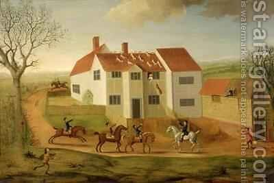 John Sidey and his Hounds at a Farmhouse near Hadleigh Suffolk by James I Dunthorne - Reproduction Oil Painting