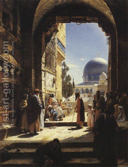 At the Entrance to the Temple Mount, Jerusalem by Gustave Bauernfeind - Reproduction Oil Painting