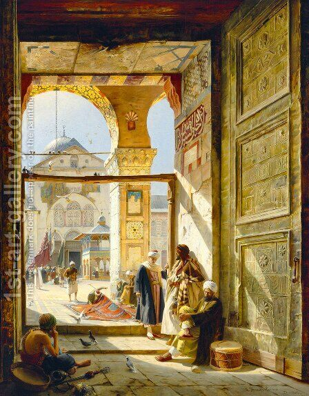 Gate of the Great Mosque, Damascus by Gustave Bauernfeind - Reproduction Oil Painting