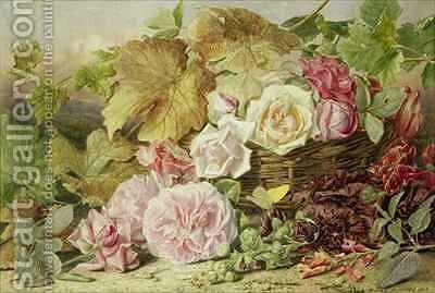 Peonies Roses and Hollyhocks by Mary Elizabeth Duffield - Reproduction Oil Painting