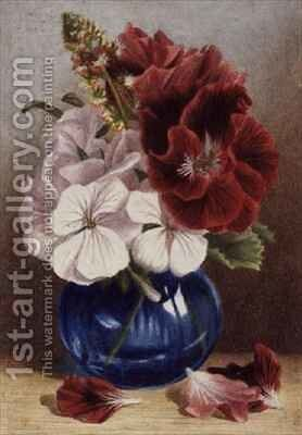 Claret and White Pelargoniums in a Blue Vase by Mary Elizabeth Duffield - Reproduction Oil Painting