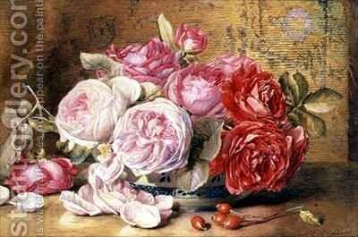 Pink and Red Roses in a Bowl by Mary Elizabeth Duffield - Reproduction Oil Painting