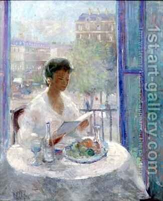 Lady reading at an open window by Clementine-Helene Dufau - Reproduction Oil Painting
