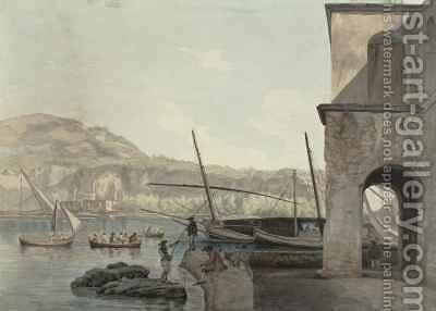 A View of the Harbour at Pozzuoli near Naples by Abraham Louis Rudolph Ducros - Reproduction Oil Painting