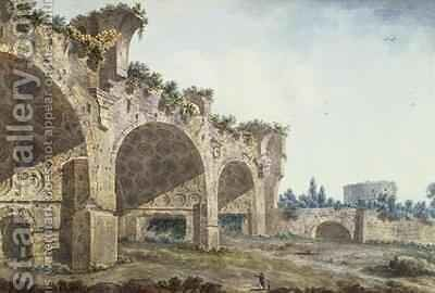 The Basilica of Maxentius Rome by Abraham Louis Rudolph Ducros - Reproduction Oil Painting