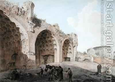 View in the Roman Forum The Temple of Peace by Abraham Louis Rudolph Ducros - Reproduction Oil Painting