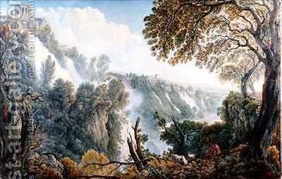 The Falls of Tivoli with a Man Seated below the Temple of the Sibyl by Abraham Louis Rudolph Ducros - Reproduction Oil Painting
