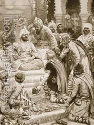Harun al Rashid receiving an embassy by Ambrose Dudley - Reproduction Oil Painting