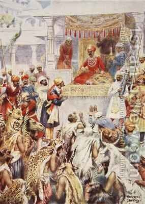The Khan Jhan shows Akbar his princely captives by Ambrose Dudley - Reproduction Oil Painting