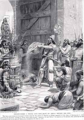 Shalmaneser I pours out the dust of Arina before his god Ashur 2 by Ambrose Dudley - Reproduction Oil Painting