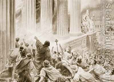 The Burning of the Library at Alexandria in 391 AD by Ambrose Dudley - Reproduction Oil Painting