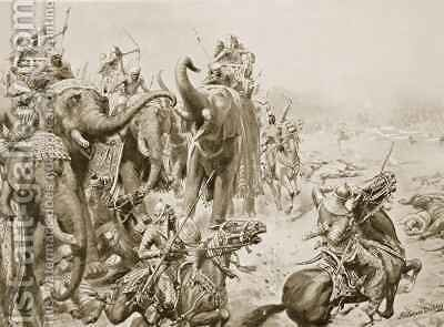 Barbar introduces field guns at Panipat by Ambrose Dudley - Reproduction Oil Painting