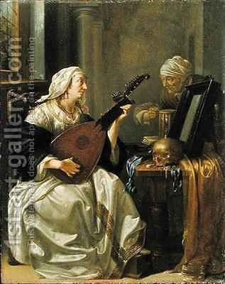 Woman with Theorbo Vanitas by Jacob Duck - Reproduction Oil Painting
