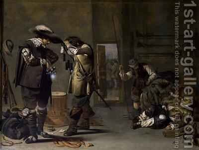 Soldiers arming themselves by Jacob Duck - Reproduction Oil Painting