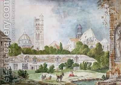 The New Church of Sainte Genevieve and Saint Etienne du Mont Seen from the Ruins of the Abbey of Sainte Genevieve in Paris by Mme. (nee Destours) Duchateau - Reproduction Oil Painting