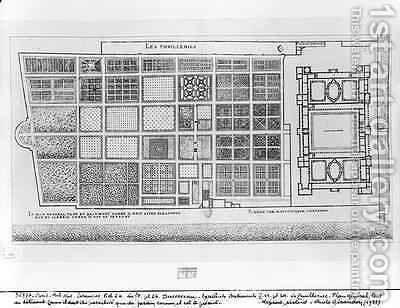 Plan of the Palace and Garden of the Tuileries Paris by J. Androuet (du Cerceau) Ducerceau - Reproduction Oil Painting