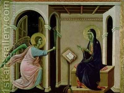 Angel Announcing the Death of Our Lord to Mary by Buoninsegna Duccio di - Reproduction Oil Painting