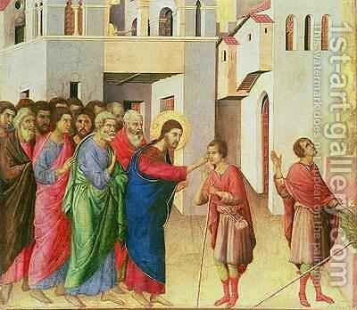 Jesus Opens the Eyes of a Man Born Blind 2 by Buoninsegna Duccio di - Reproduction Oil Painting