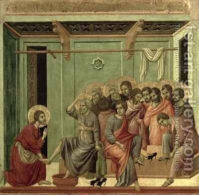 Maesta Christ Washing the Disciples Feet by Buoninsegna Duccio di - Reproduction Oil Painting