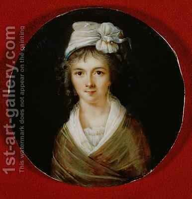 Portrait miniature believed to be of Claire Lacombe by Ducare - Reproduction Oil Painting