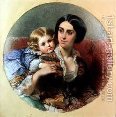 Maternal Tenderness by Edouard Louis Dubufe - Reproduction Oil Painting