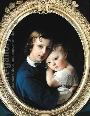 Paul and Rene Dubufe by Claude-Marie Dubufe - Reproduction Oil Painting