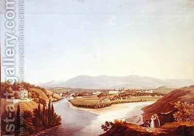 View of Geneva from the Confluence of the Rhone and the Arve by Jean Dubois - Reproduction Oil Painting