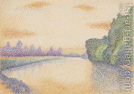 The Marne at Dawn by Albert Dubois-Pillet - Reproduction Oil Painting