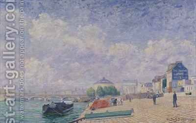 The Seine at Bercy by Albert Dubois-Pillet - Reproduction Oil Painting
