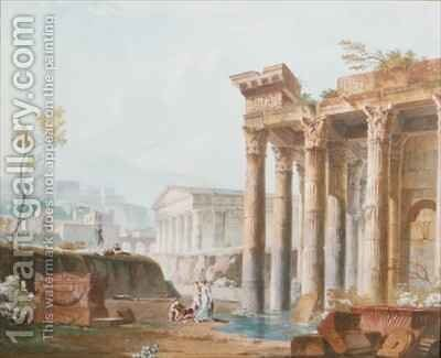 A Capriccio of Classical Ruins by Alexandre-Jean Dubois Drahonet - Reproduction Oil Painting