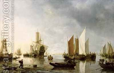 Harbour with Anchored Ships by Hendrick Dubbels - Reproduction Oil Painting