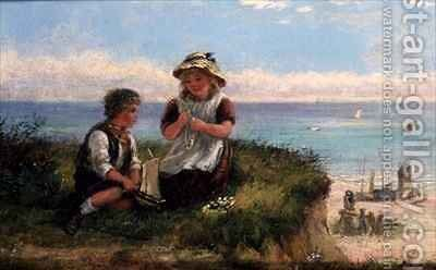 Making Daisy Chains by H. Drummond - Reproduction Oil Painting
