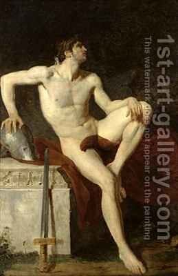 Seated Gladiator by Jean-Germain Drouais - Reproduction Oil Painting