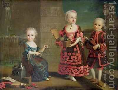 A Girl with a Marmoset in a Box Girl with Triangle sitting on a Magic Lantern and a Boy with a Hurdy Gurdy by (attr. to) Drouais, Francois-Hubert - Reproduction Oil Painting