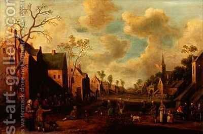Peasants Merrymaking in a Village Street by Cornelius Droochsloot - Reproduction Oil Painting