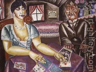The Card Players by Albert Droesbeke - Reproduction Oil Painting
