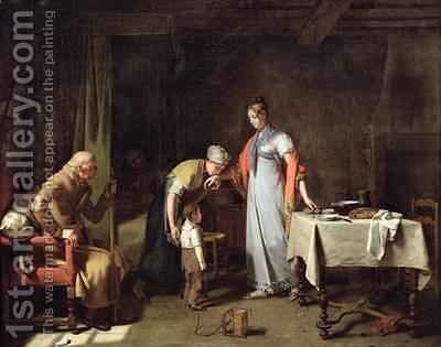 Young Woman Helping an Unfortunate Family by Martin Drolling - Reproduction Oil Painting