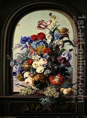 Still life of a niche with flowers by Johann Baptist Drechsler - Reproduction Oil Painting